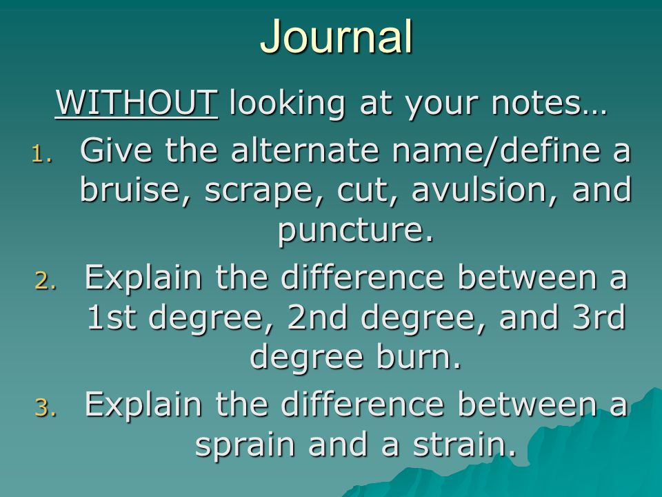 Journal WITHOUT looking at your notes… 1.