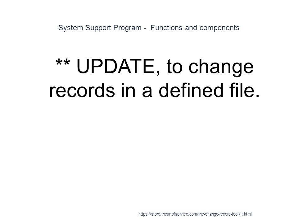 System Support Program - Functions and components 1 ** UPDATE, to change records in a defined file.