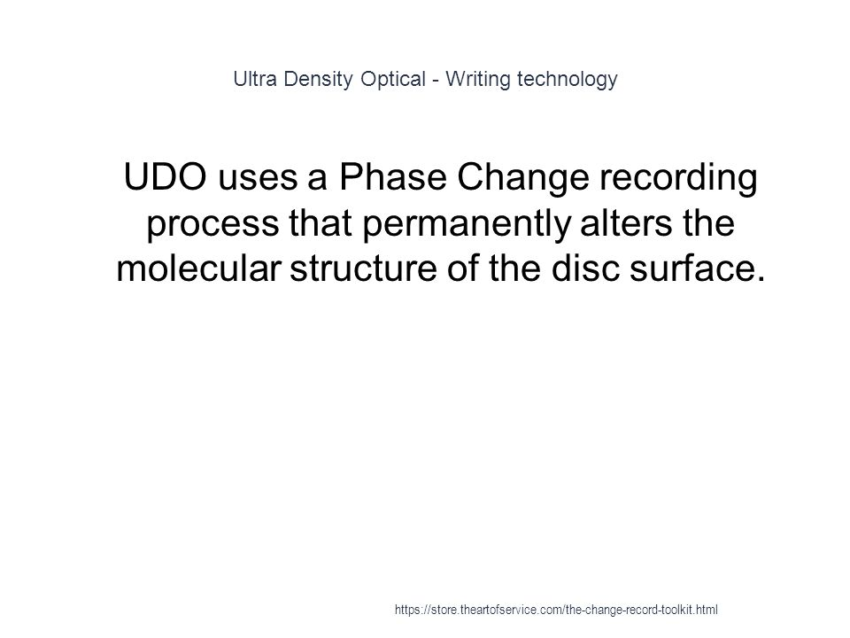 Ultra Density Optical - Writing technology 1 UDO uses a Phase Change recording process that permanently alters the molecular structure of the disc surface.
