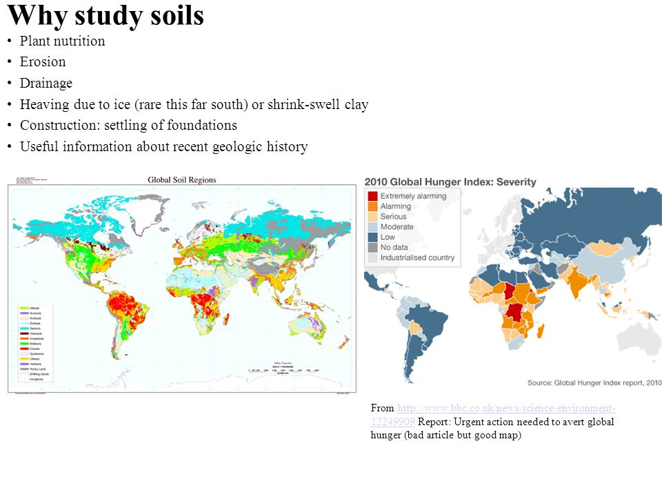 Why study soils Plant nutrition Erosion Drainage Heaving due to ice (rare this far south) or shrink-swell clay Construction: settling of foundations U