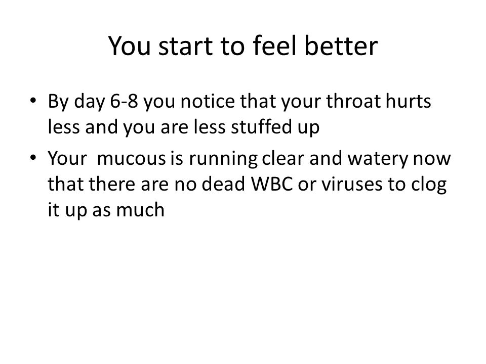 You start to feel better By day 6-8 you notice that your throat hurts less and you are less stuffed up Your mucous is running clear and watery now that there are no dead WBC or viruses to clog it up as much