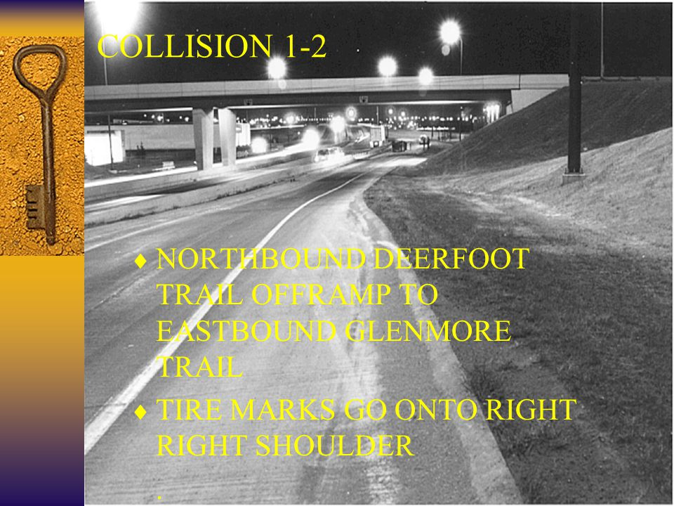 21 COLLISION 1-2  NORTHBOUND DEERFOOT TRAIL OFFRAMP TO EASTBOUND GLENMORE TRAIL  TIRE MARKS GO ONTO RIGHT RIGHT SHOULDER ..