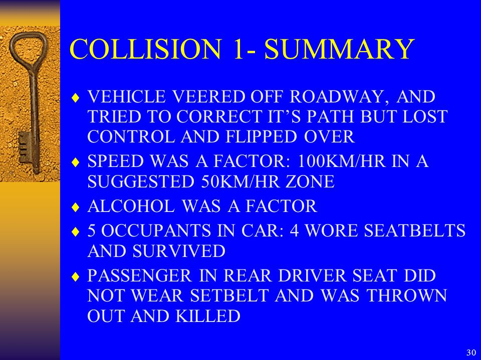 30 COLLISION 1- SUMMARY  VEHICLE VEERED OFF ROADWAY, AND TRIED TO CORRECT IT'S PATH BUT LOST CONTROL AND FLIPPED OVER  SPEED WAS A FACTOR: 100KM/HR IN A SUGGESTED 50KM/HR ZONE  ALCOHOL WAS A FACTOR  5 OCCUPANTS IN CAR: 4 WORE SEATBELTS AND SURVIVED  PASSENGER IN REAR DRIVER SEAT DID NOT WEAR SETBELT AND WAS THROWN OUT AND KILLED