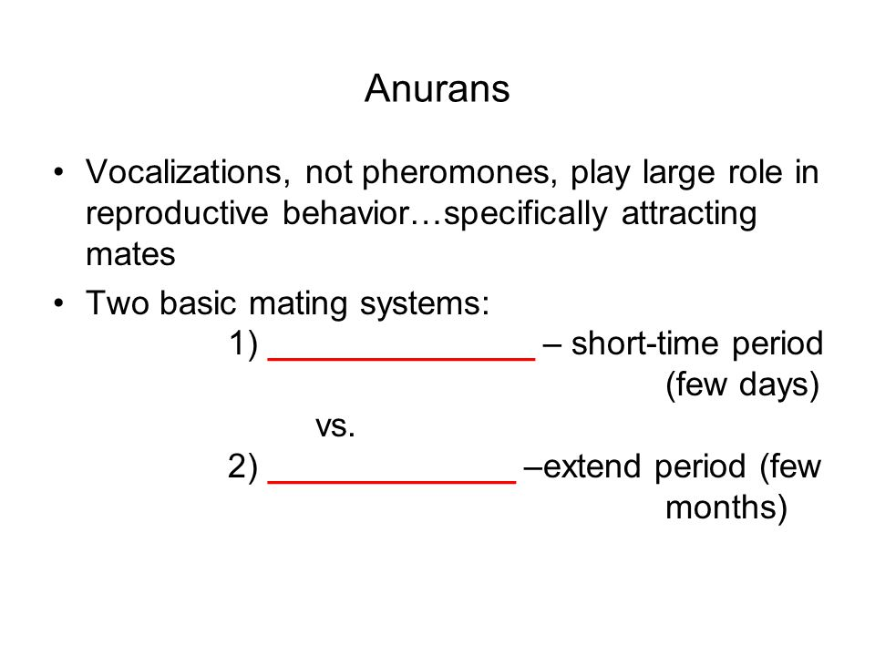 Anurans Vocalizations, not pheromones, play large role in reproductive behavior…specifically attracting mates Two basic mating systems: 1) ______________ – short-time period (few days) vs.