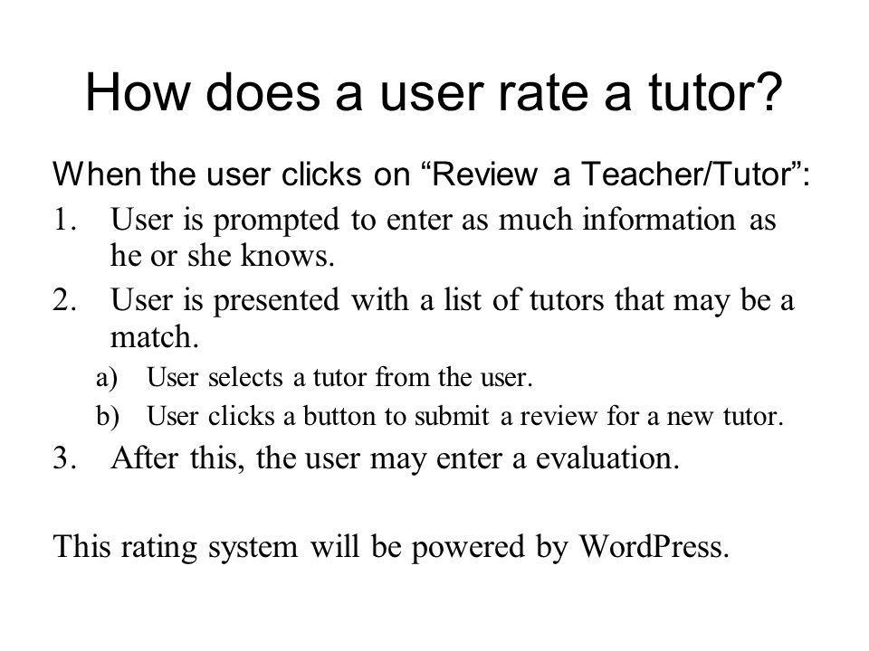 How does a user rate a tutor.