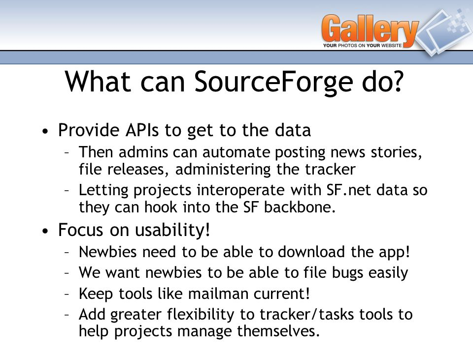 What can SourceForge do.