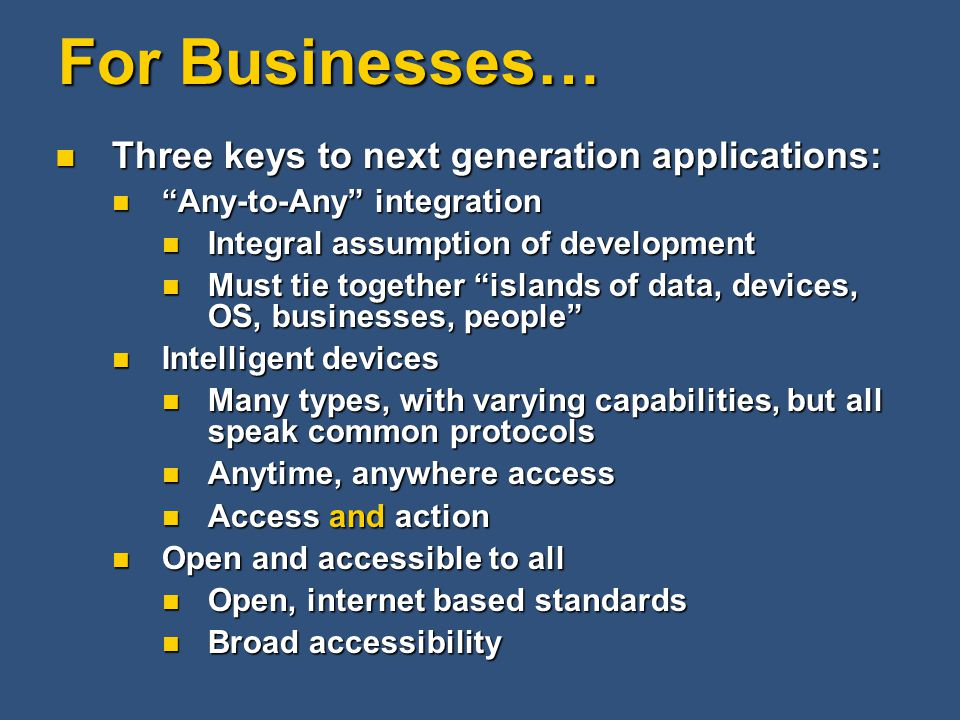 "For Businesses… Three keys to next generation applications: Three keys to next generation applications: ""Any-to-Any"" integration ""Any-to-Any"" integrat"