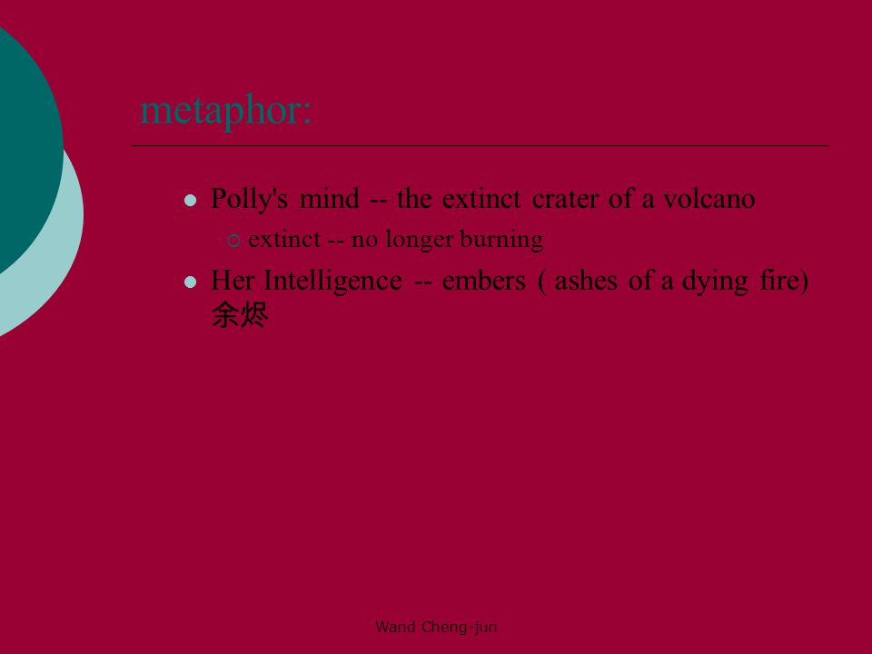 Wand Cheng-jun metaphor: Polly s mind -- the extinct crater of a volcano  extinct -- no longer burning Her Intelligence -- embers ( ashes of a dying fire) 余烬