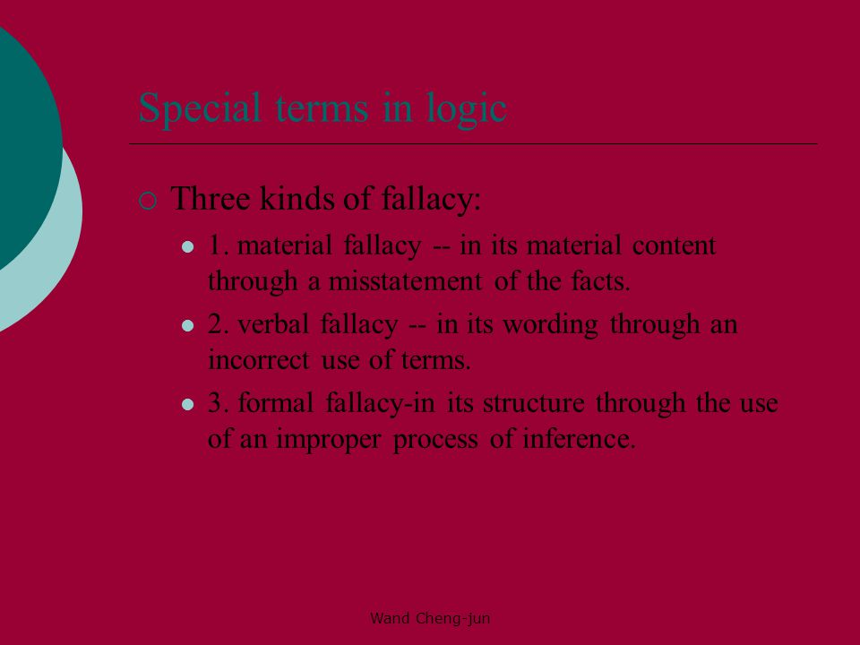 Wand Cheng-jun Special terms in logic  Three kinds of fallacy: 1.