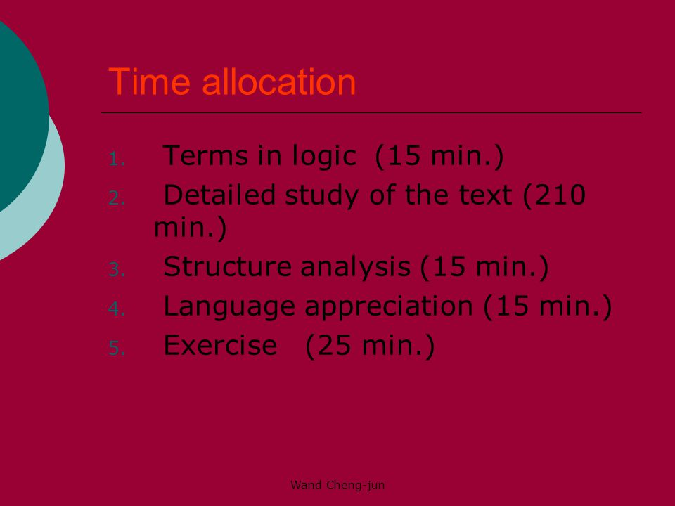 Wand Cheng-jun Time allocation 1.Terms in logic (15 min.) 2.