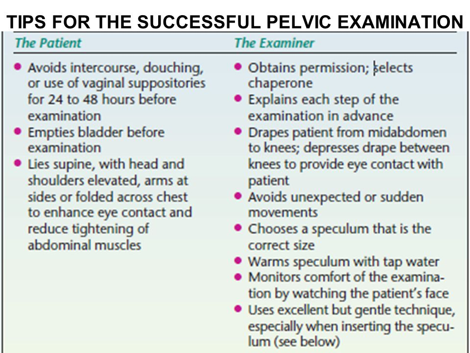 TIPS FOR THE SUCCESSFUL PELVIC EXAMINATION