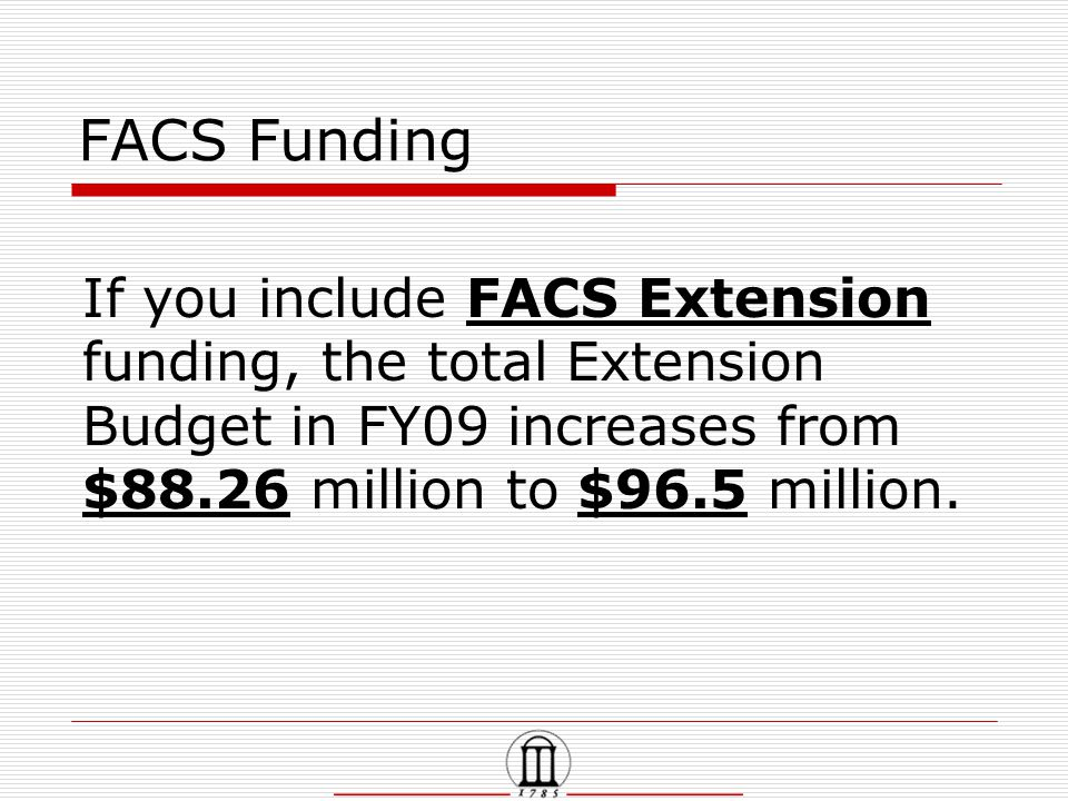 FACS Funding If you include FACS Extension funding, the total Extension Budget in FY09 increases from $88.26 million to $96.5 million.