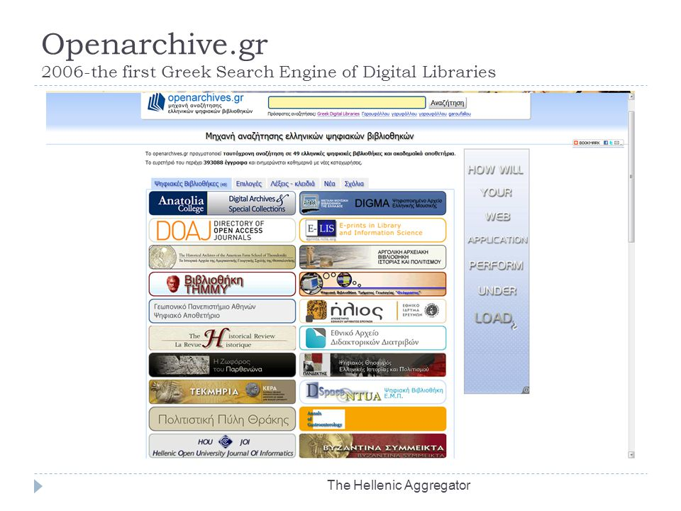 Openarchive.gr 2006-the first Greek Search Engine of Digital Libraries The Hellenic Aggregator