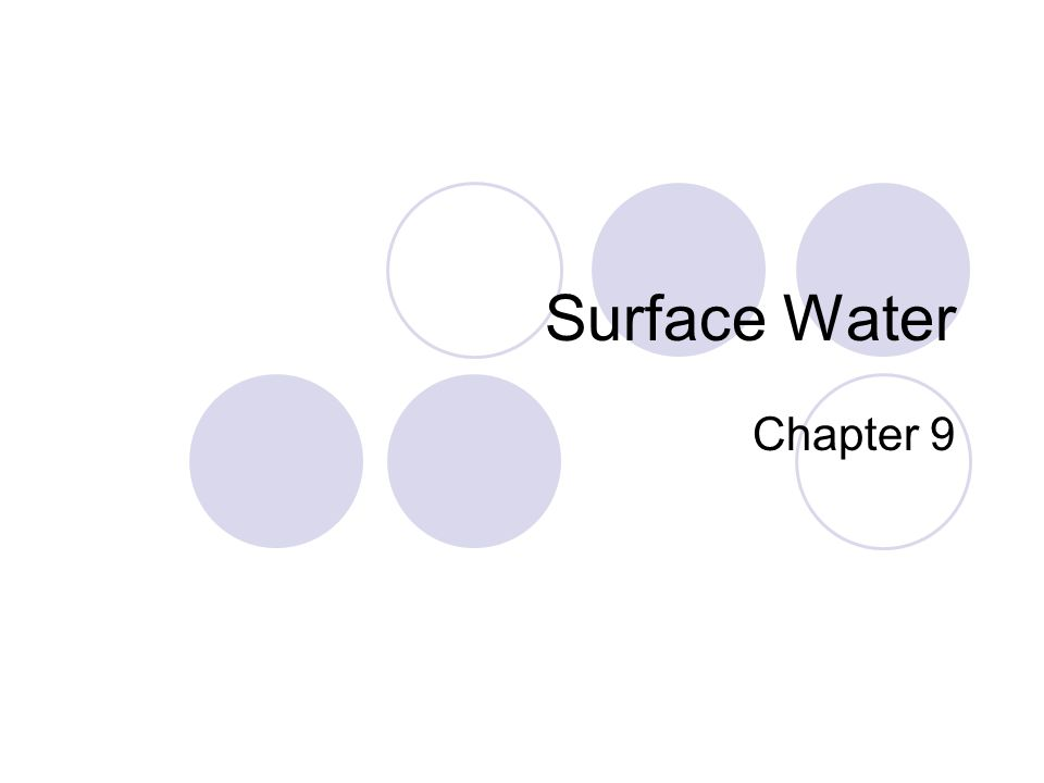 Surface Water Chapter 9