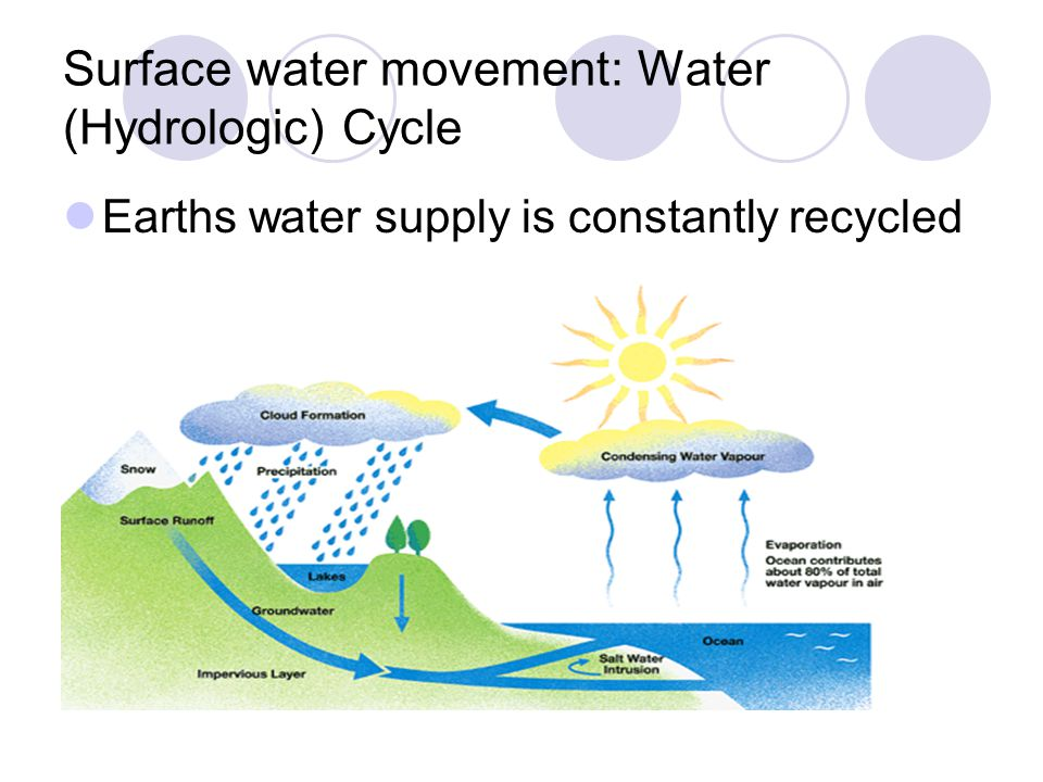 The Water Cycle The Sun provides energy for the water cycle.