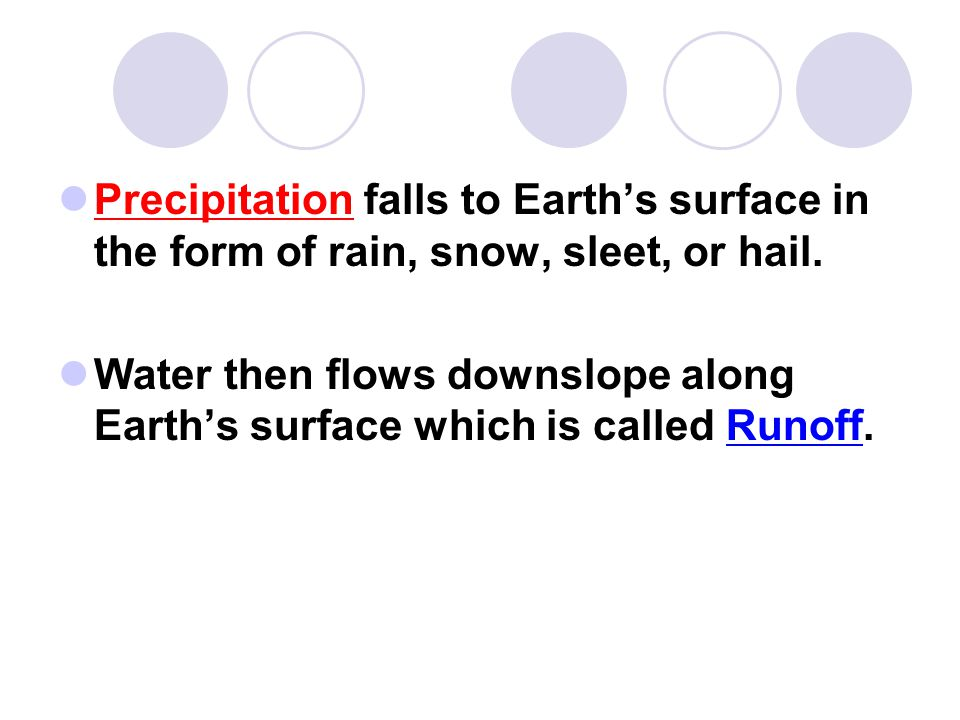 Precipitation falls to Earth's surface in the form of rain, snow, sleet, or hail. Water then flows downslope along Earth's surface which is called Run