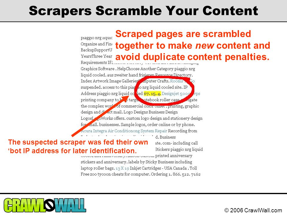 © 2006 CrawlWall.com The suspected scraper was fed their own 'bot IP address for later identification. Scrapers Scramble Your Content Scraped pages ar