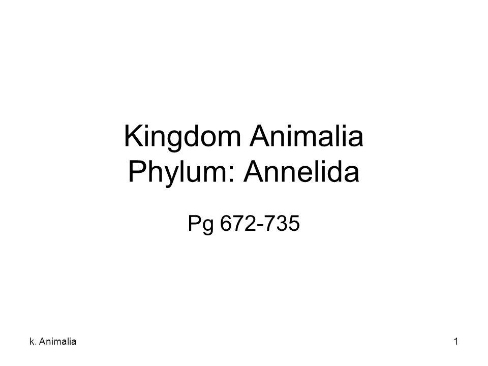 k. Animalia1 Kingdom Animalia Phylum: Annelida Pg 672-735