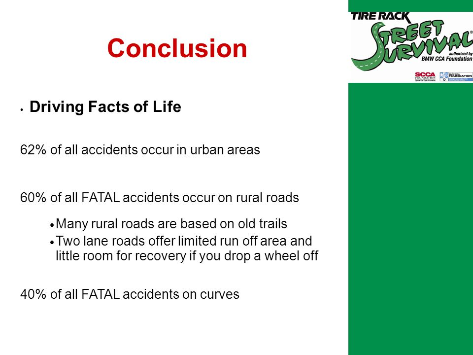 Conclusion  Driving Facts of Life 62% of all accidents occur in urban areas 60% of all FATAL accidents occur on rural roads  Many rural roads are based on old trails  Two lane roads offer limited run off area and little room for recovery if you drop a wheel off 40% of all FATAL accidents on curves