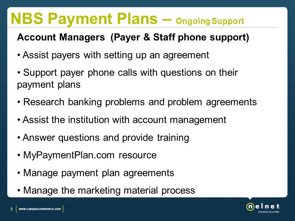 5 Account Managers (Payer & Staff phone support) Assist payers with setting up an agreement Support payer phone calls with questions on their payment