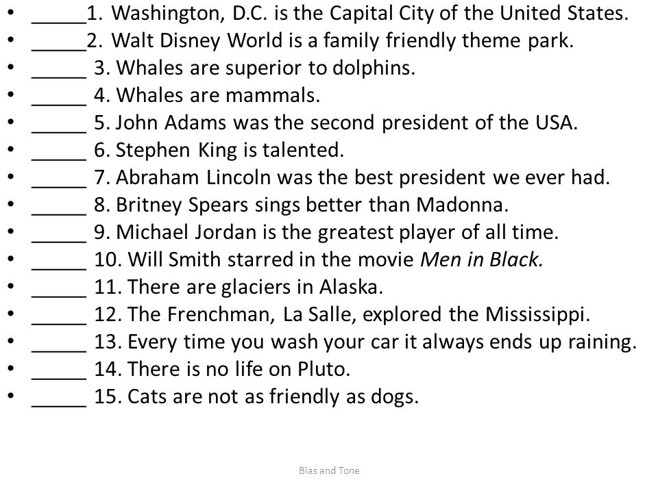 _____1. Washington, D.C. is the Capital City of the United States.
