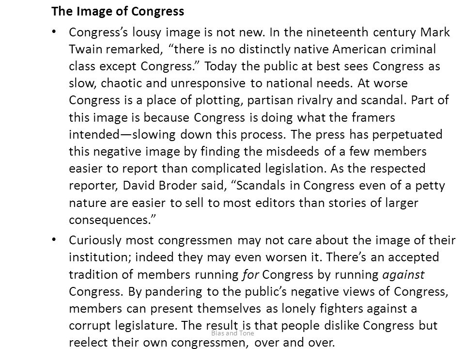 The Image of Congress Congress's lousy image is not new.