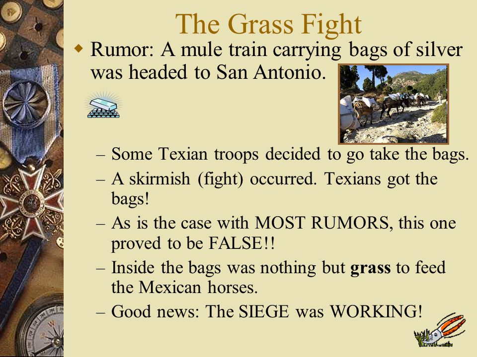 Point of No Return  Colonists leave Gonzales to attack General Cós in San Antonio  Stephen F. Austin is elected commander of the army  Most Texians