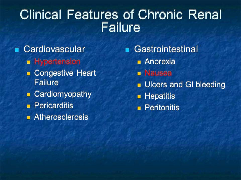 Clinical Features of Chronic Renal Failure Cardiovascular Hypertension Congestive Heart Failure Cardiomyopathy Pericarditis Atherosclerosis Cardiovascular Hypertension Congestive Heart Failure Cardiomyopathy Pericarditis Atherosclerosis Gastrointestinal Anorexia Nausea Ulcers and GI bleeding Hepatitis Peritonitis Gastrointestinal Anorexia Nausea Ulcers and GI bleeding Hepatitis Peritonitis