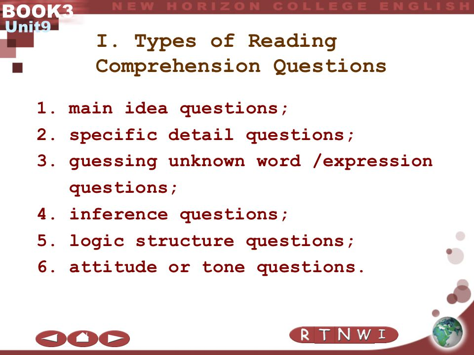 Types of Reading Comprehension Questions Question Answering