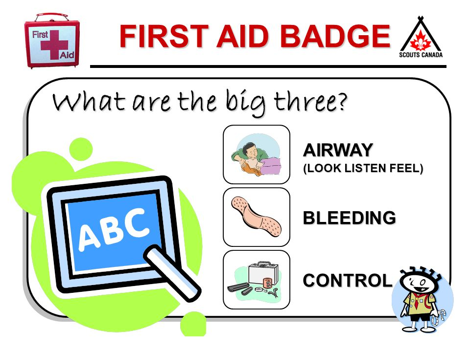 FIRST AID BADGE What are the big three? AIRWAY (LOOK LISTEN FEEL) BLEEDING CONTROL