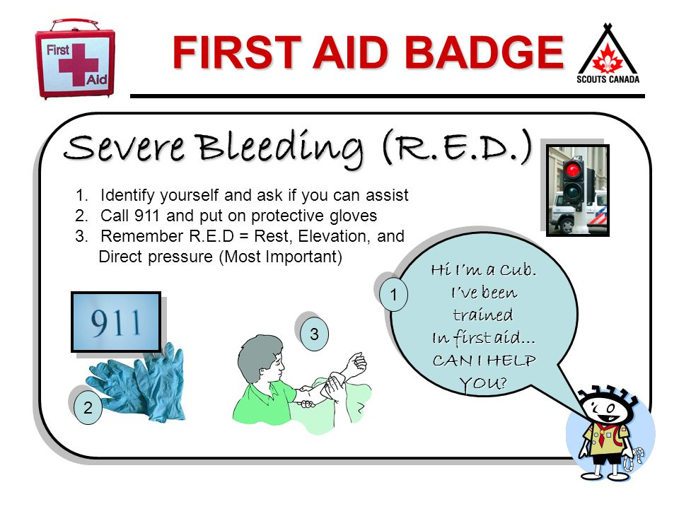 FIRST AID BADGE Severe Bleeding (R.E.D.) 1.Identify yourself and ask if you can assist 2.Call 911 and put on protective gloves 3.Remember R.E.D = Rest