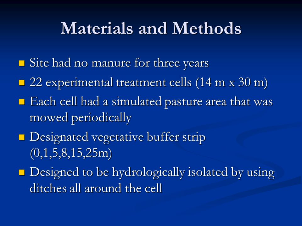 Materials and Methods Site had no manure for three years Site had no manure for three years 22 experimental treatment cells (14 m x 30 m) 22 experimental treatment cells (14 m x 30 m) Each cell had a simulated pasture area that was mowed periodically Each cell had a simulated pasture area that was mowed periodically Designated vegetative buffer strip (0,1,5,8,15,25m) Designated vegetative buffer strip (0,1,5,8,15,25m) Designed to be hydrologically isolated by using ditches all around the cell Designed to be hydrologically isolated by using ditches all around the cell