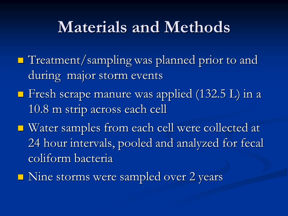 Materials and Methods Treatment/sampling was planned prior to and during major storm events Treatment/sampling was planned prior to and during major storm events Fresh scrape manure was applied (132.5 L) in a 10.8 m strip across each cell Fresh scrape manure was applied (132.5 L) in a 10.8 m strip across each cell Water samples from each cell were collected at 24 hour intervals, pooled and analyzed for fecal coliform bacteria Water samples from each cell were collected at 24 hour intervals, pooled and analyzed for fecal coliform bacteria Nine storms were sampled over 2 years Nine storms were sampled over 2 years