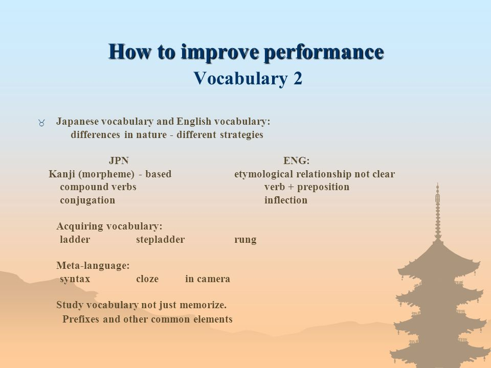 How to improve performance How to improve performance Vocabulary 2 _ Japanese vocabulary and English vocabulary: differences in nature - different str