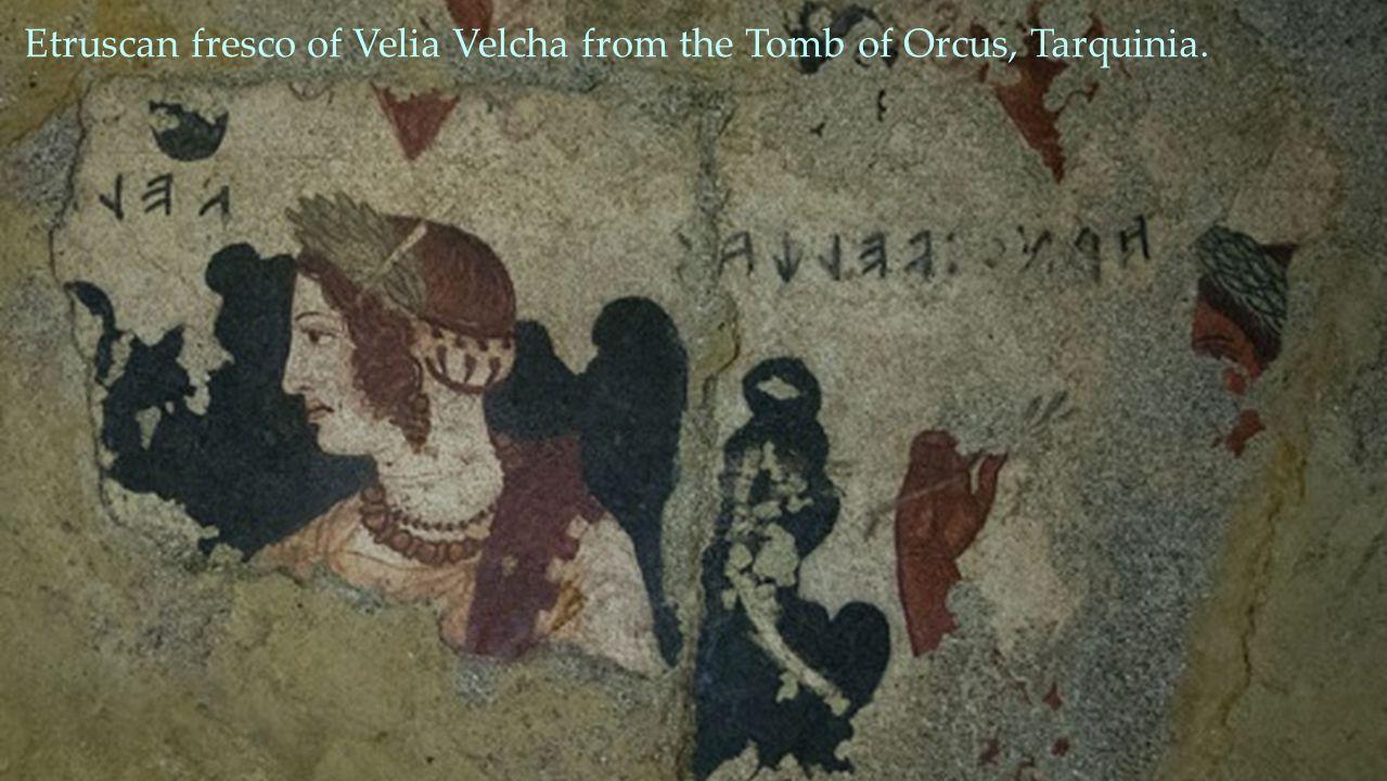 Etruscan fresco of Velia Velcha from the Tomb of Orcus, Tarquinia.
