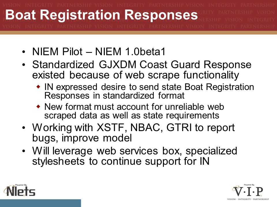 Boat Registration Responses NIEM Pilot – NIEM 1.0beta1 Standardized GJXDM Coast Guard Response existed because of web scrape functionality  IN expressed desire to send state Boat Registration Responses in standardized format  New format must account for unreliable web scraped data as well as state requirements Working with XSTF, NBAC, GTRI to report bugs, improve model Will leverage web services box, specialized stylesheets to continue support for IN