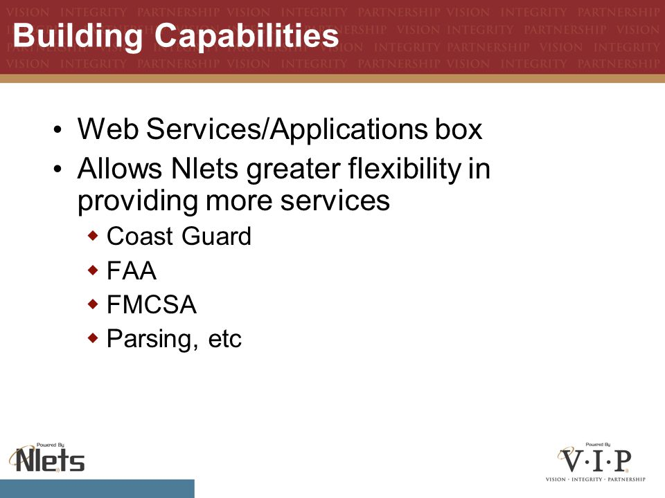 Building Capabilities Web Services/Applications box Allows Nlets greater flexibility in providing more services  Coast Guard  FAA  FMCSA  Parsing, etc