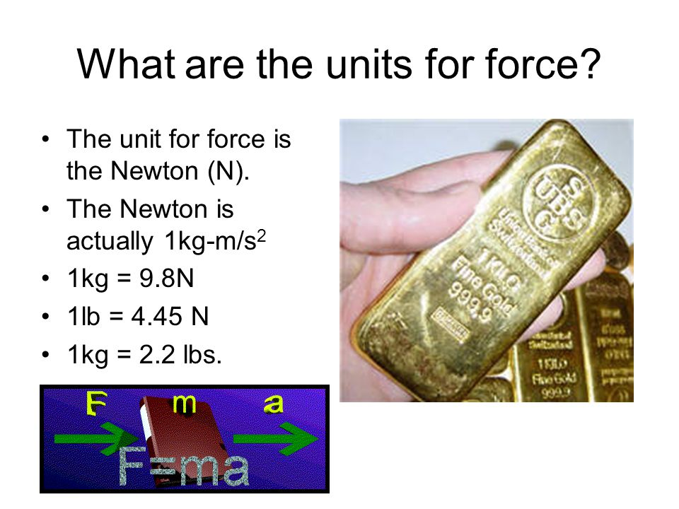 What are the units for force. The unit for force is the Newton (N).