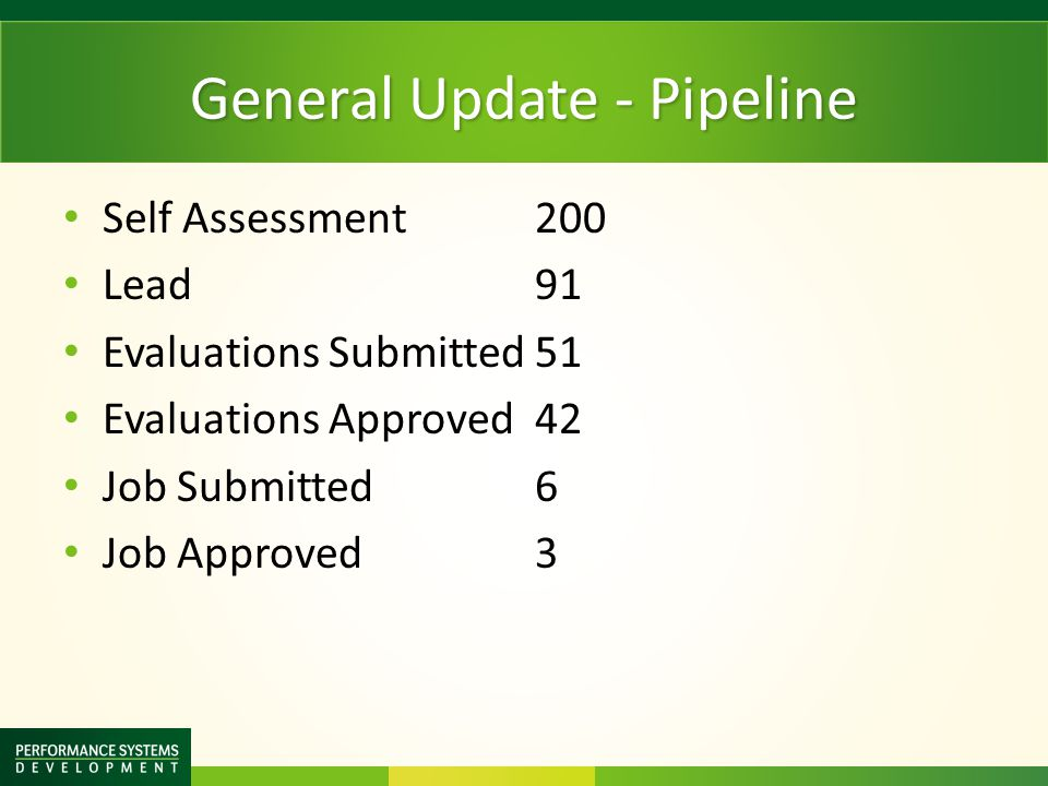 General Update - Pipeline Self Assessment 200 Lead91 Evaluations Submitted51 Evaluations Approved42 Job Submitted6 Job Approved3