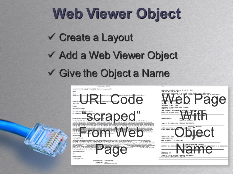 Web Viewer Object Create a Layout Create a Layout Add a Web Viewer Object Add a Web Viewer Object Give the Object a Name Give the Object a Name URL Code scraped From Web Page Web Page With Object Name