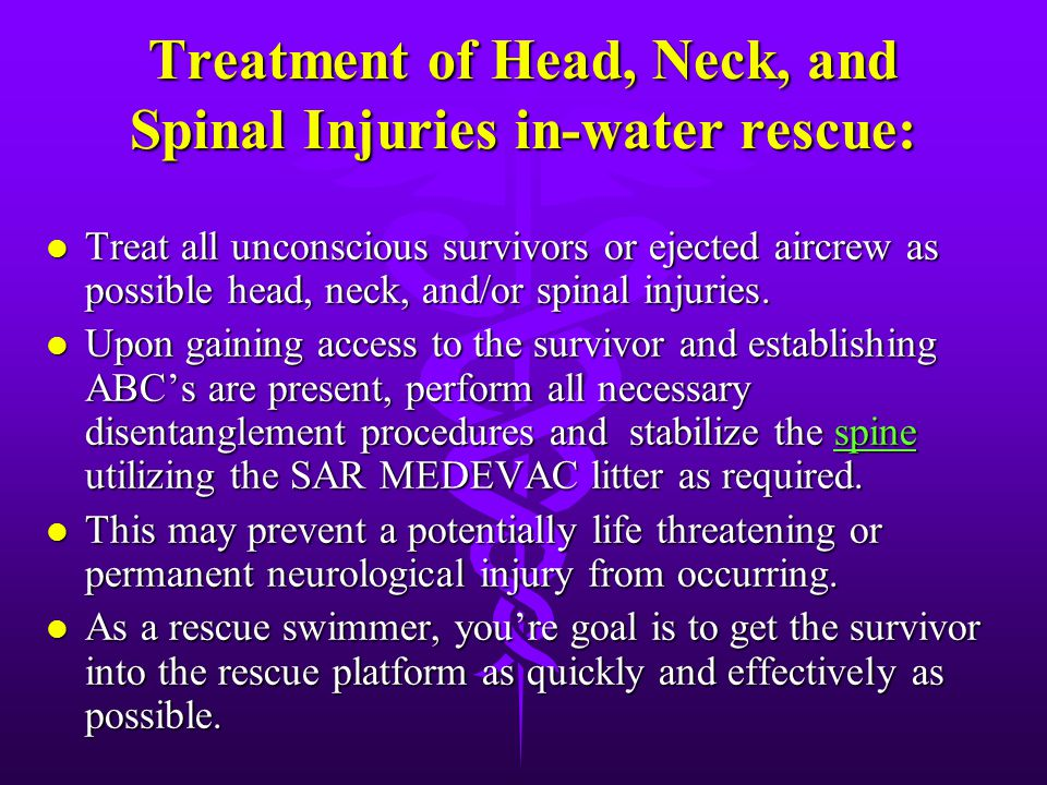 Signals of Head, Neck, and Spinal Injuries l Blood or other fluids in the ears or nose. l Heavy external bleeding of the head, neck, or back. l Seizur