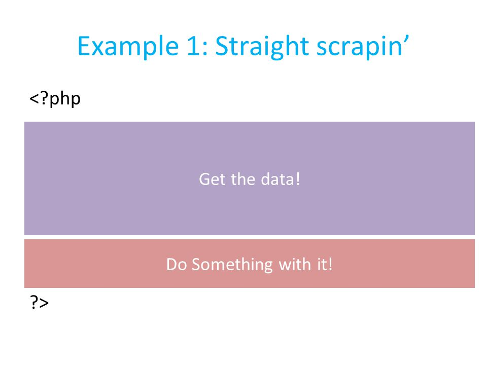 Example 1: Straight scrapin' <?php $url = http://www.weather.com/weather/today/New+Y ork+NY+10010?lswe=10010 ; $output = file_get_contents($url); echo $output; ?> Get the data.