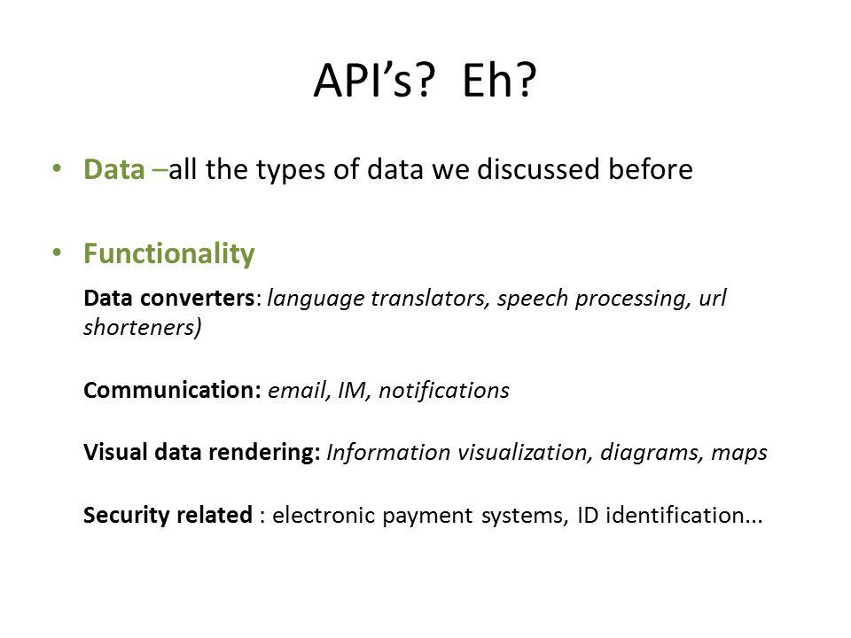 API's. Eh.