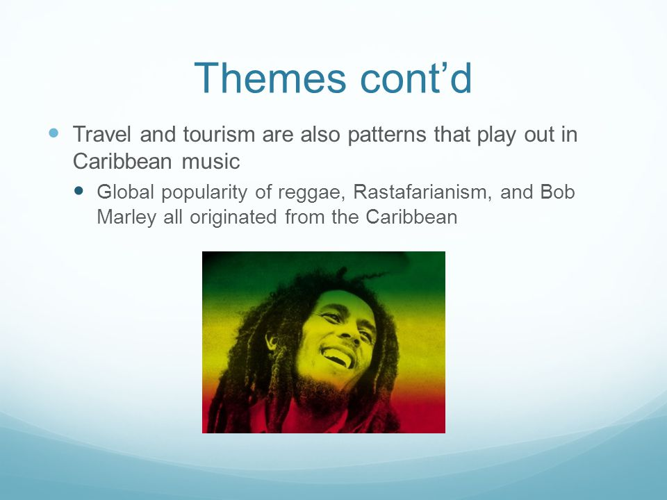 Themes cont'd Class and cultural politics play a large role in the musical choices of the artists in the Caribbean Junkaroo blurs the lines between classes—everyone participates in the two-day festival Cultural politics issues can be seen in Trinidad where East Indians and Afro-Creoles are mixing cultures to represent the nation East Indians hold the political power while the Afro- Creoles hold the cultural center Music trends have become hybridized, however the politics are still putting a strain on the region