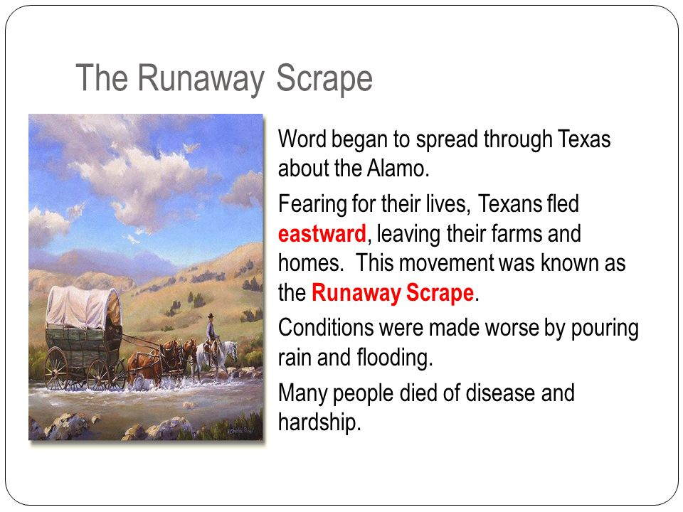 The Runaway Scrape Word began to spread through Texas about the Alamo.