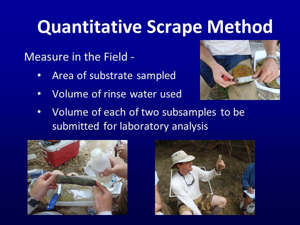 Correlation with Instream Water Quality Scrape MethodTransect Method Instream Water Quality ln(CHLA, mg/cm 2 ) ln(AFDM, mg/cm 2 ) ln(Moss, score) ln(Macro -algae, score) ln(Micro -algae, score) ln(Moss + Micro- algae + Macro- algae, score) ln(Max- imum Macro- algae Length, mm) ln(Stream CHLA, µg/L) - - ln(TKN, mg/L) - ---- ln(DO, mg/L) + ++++ pH (standard units) -