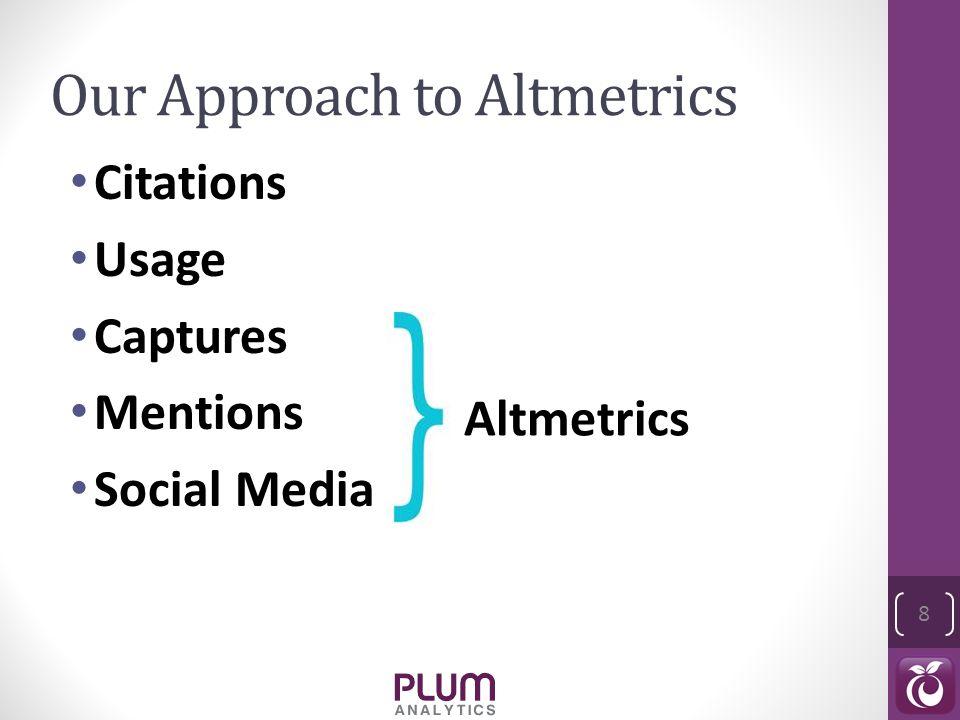 Our Approach to Altmetrics Citations Usage Captures Mentions Social Media 8 Altmetrics