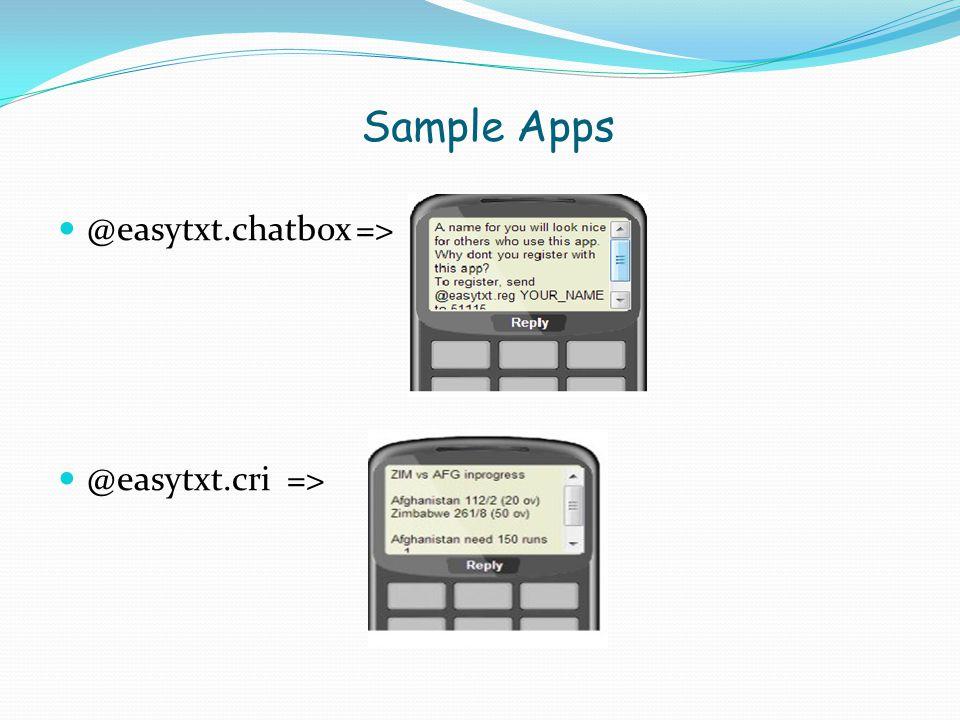 Sample Apps @easytxt.chatbox => @easytxt.cri =>