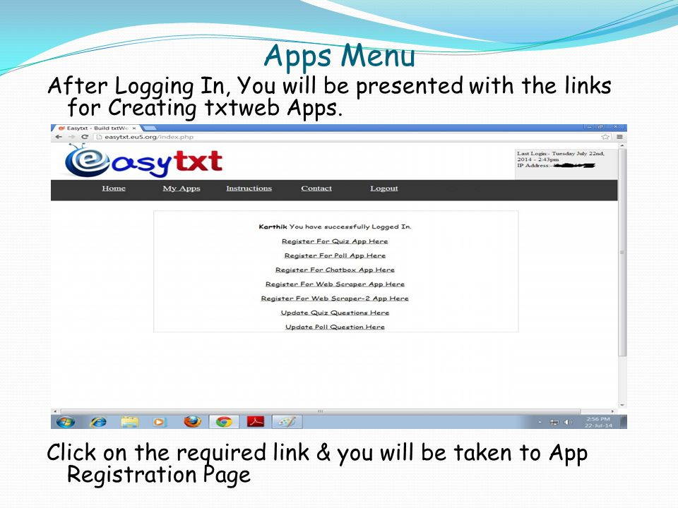 Creating a Web Scrape App Step 1:- Click On Register a Web Scrape App .