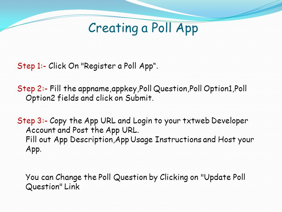 Creating a Poll App Step 1:- Click On
